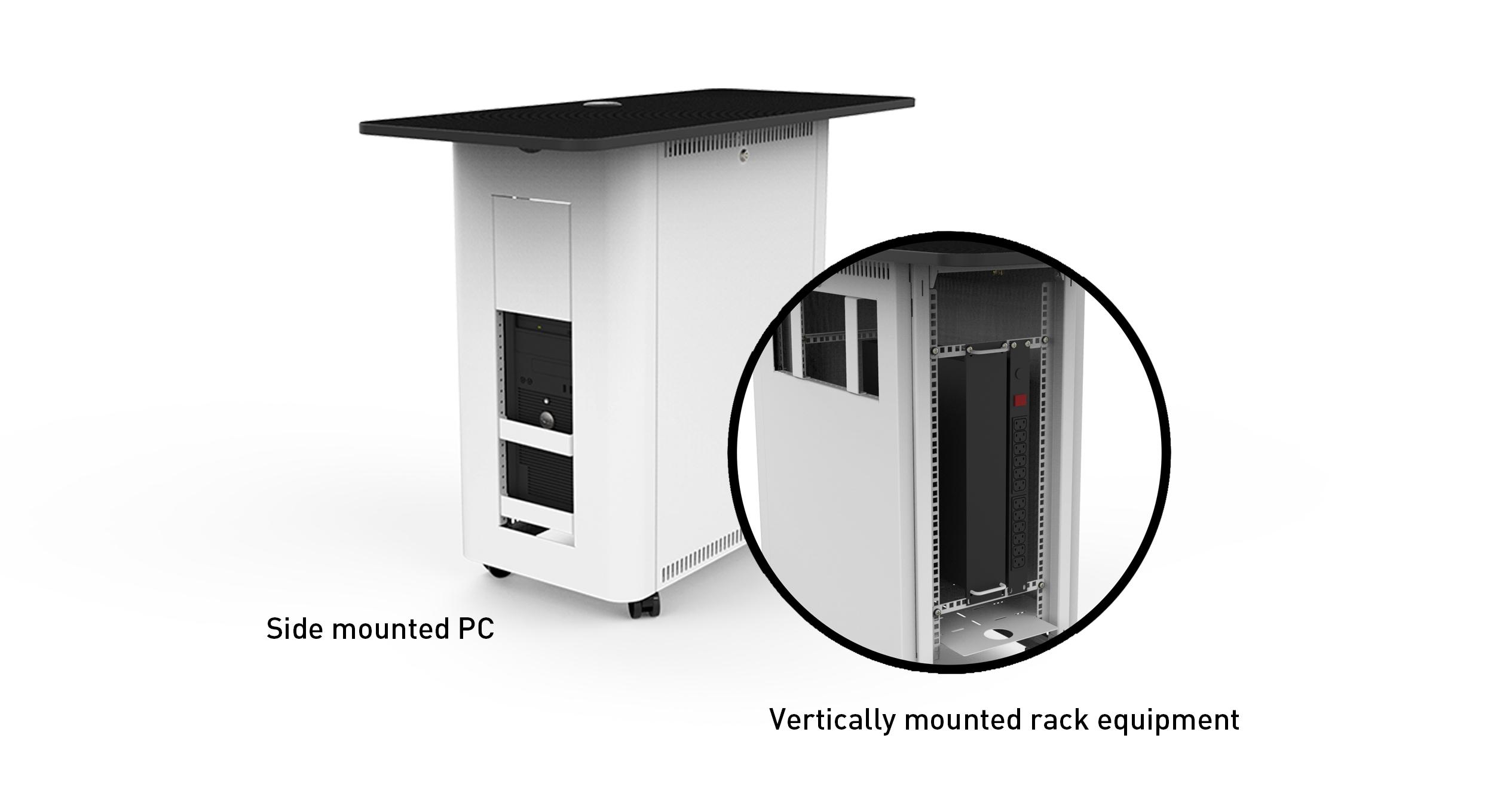 Vertically mounted rack equipment