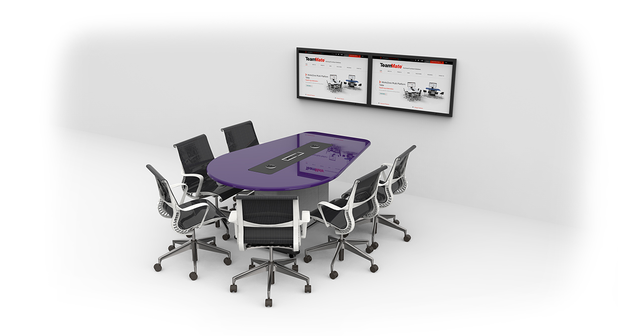 WorksZone Oval with wall mounted screens