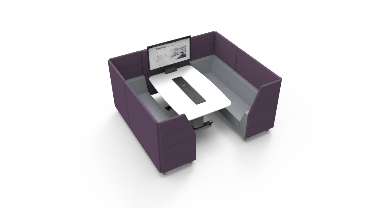 WorksZone Pod 6 seat purple top view