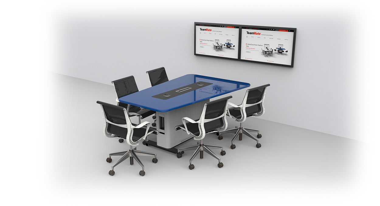 WorksZone Trapeze with wall mounted screens